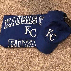 Kansas City Royals shirt and hat set NWT